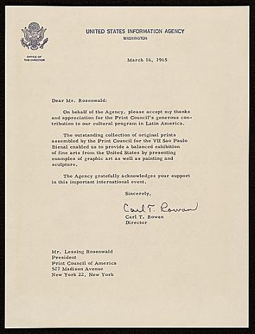 thumbnail image for Carl T. Rowan, Washington, D.C. letter to Lessing J. (Lessing Julius) Rosenwald, New York, N.Y.