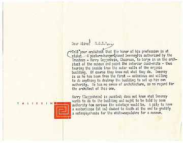 thumbnail image for Frank Lloyd Wright to Aline B. (Aline Bernstein) Saarinen