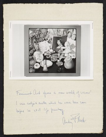 thumbnail image for Reproduction of a painting by Audrey Flack with handwritten caption