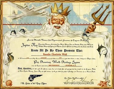 Pan Am Passenger Certificate