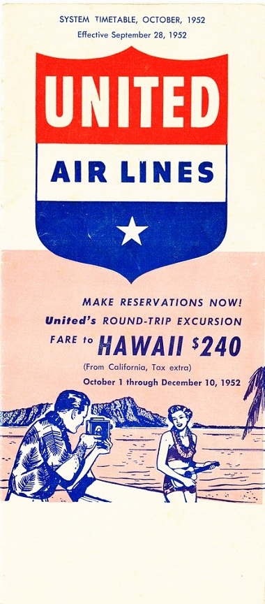 United Airlines Timetable 1952