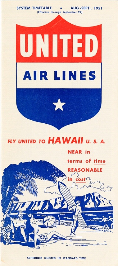 United Airlines Timetable 1951