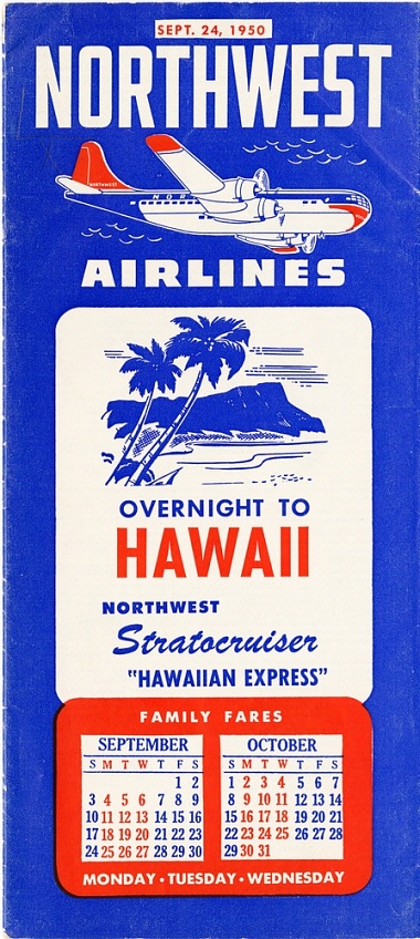 Northwest Airlines Timetable 1950