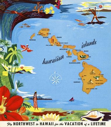 Northwest Airlines Hawaii Brochure, Map