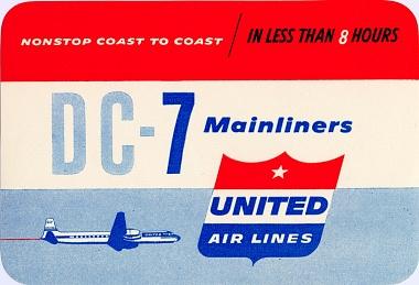 United DC-7 Baggage Sticker