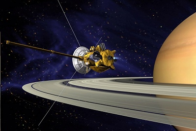Artists's Conception of Cassini Saturn Orbit Insertion
