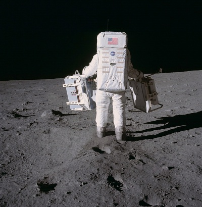 Buzz Aldrin Carries Experiments