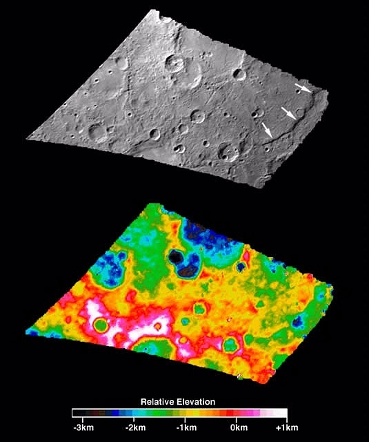 Digital Elevation of Mercury's Discovery Rupes