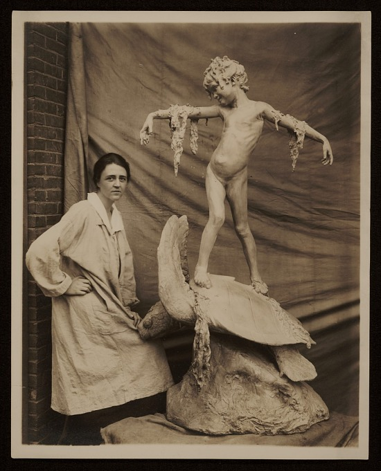 image for Beatrice Fenton with her sculpture Seaweed fountain