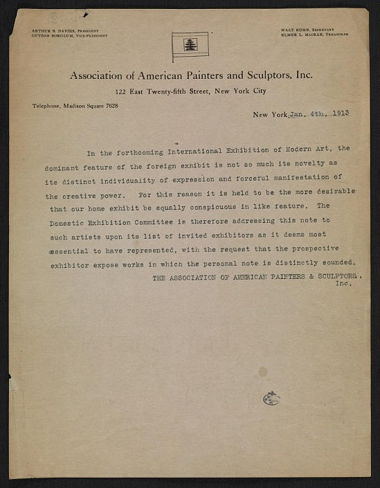 image for Association of American Painters and Sculptors statement on the Armory Show