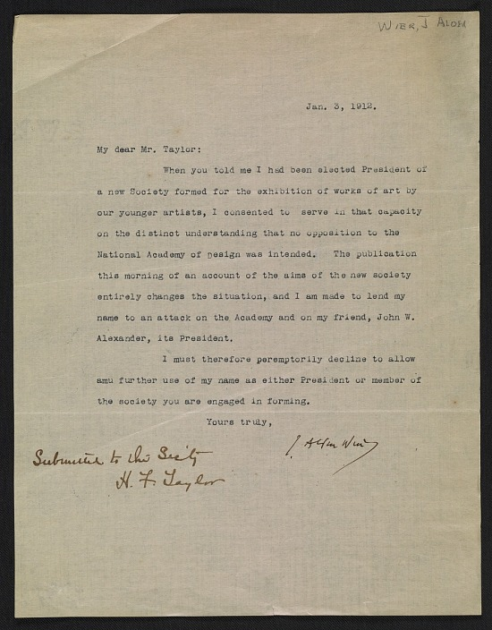 image for J. Alden Weir letter to Henry Fitch Taylor