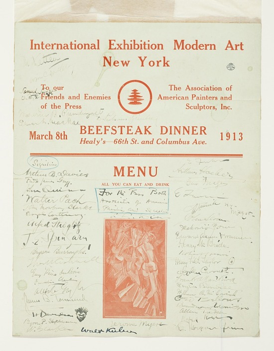 image for Armory Show beefsteak dinner menu signed by guests