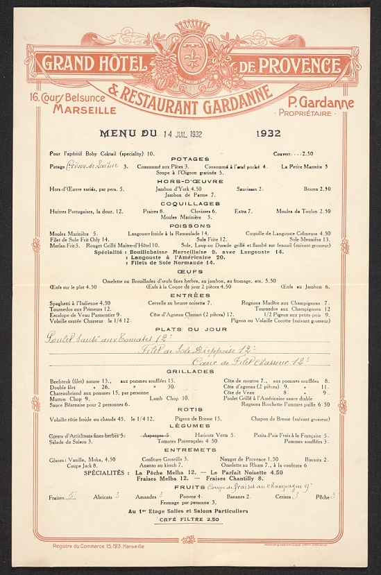 image for Grand Hotel de Provence menu