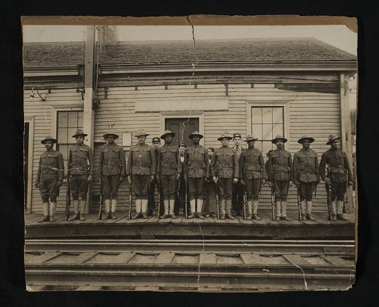 image for Group of World War I soldiers and railroad employees at Kittery Junction Station