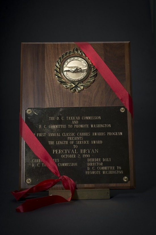 image for Plaque awarded to Percival Bryan by the D. C. Taxicab Commission and the D. C. Committee