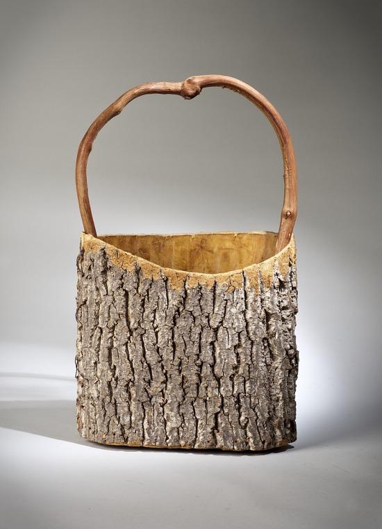 image for Handmade Tree Bark Basket with Twig Handle