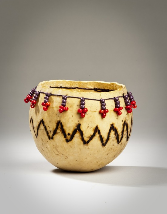 image for Carved Decorative Gourd with Red & Purple Beads