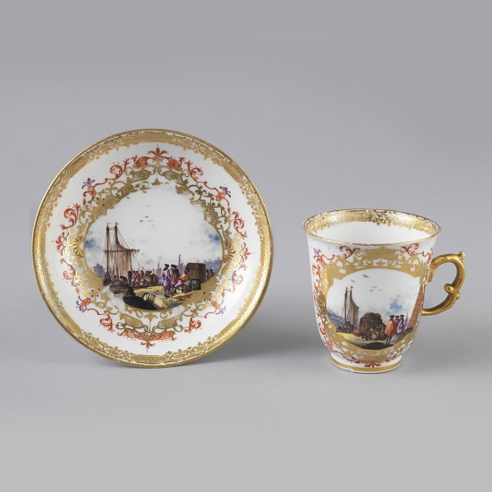 image for Chocolate or Coffee Cup and Saucer with Harbor Scenes