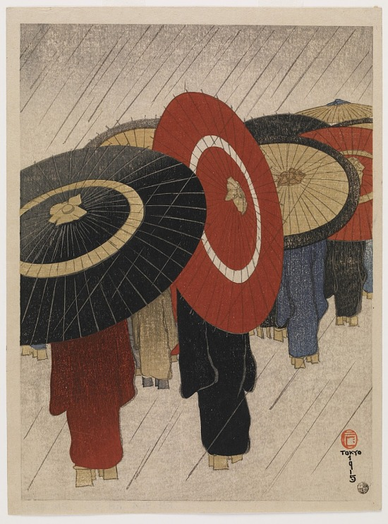 image for Student Girls Going Home in the Rain