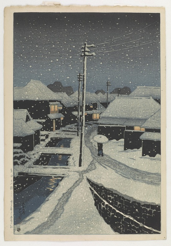 image for Snow Falling at Terajima Village, from the series Twelve Scenes of Tokyo