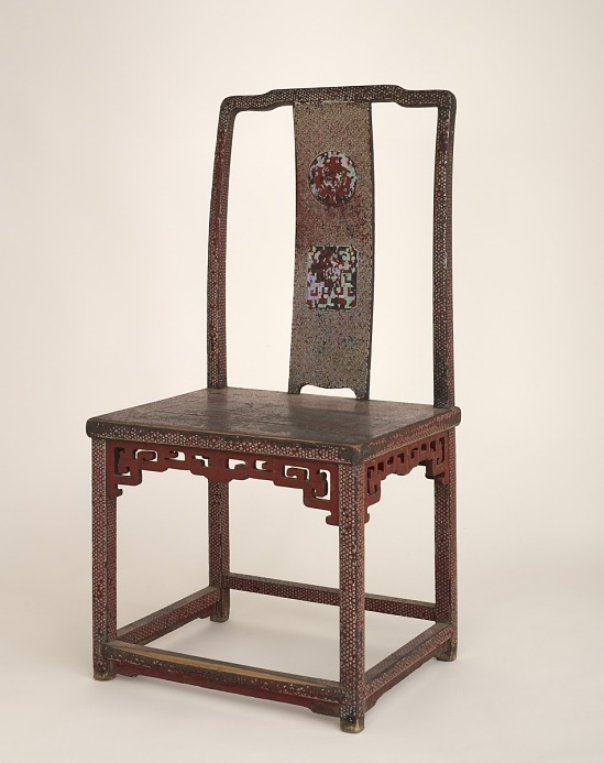 image for Chair. Wood, covered with red lacquer and inlaid with mother-of-pearl