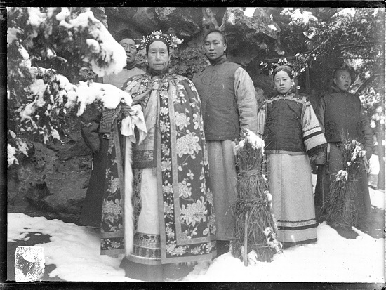 image for The Empress Dowager Cixi in snow accompanied by attendants 1903-1905