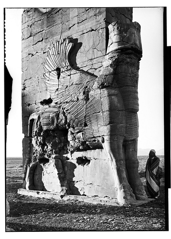 image for Excavation of Persepolis (Iran): Gate of All Lands, Colossal Sculpture Depicting Man-Bull: View before Excavation, Looking West graphic