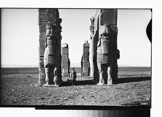 image for Excavation of Persepolis (Iran): Gate of All Lands, Colossal Sculptures Depicting Man-Bulls: View before Excavation, Looking West graphic