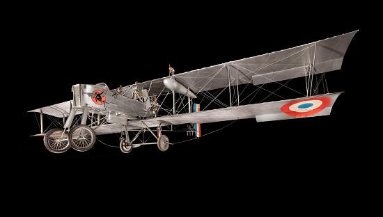 Gray box-shaped Voisin Type 8 biplane