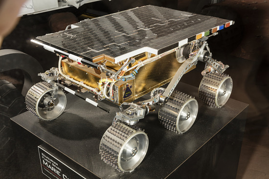 Front-side view of metal Rover Engineering Test Vehicle on display