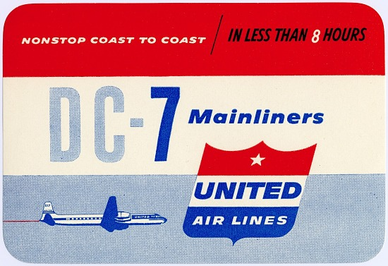 image for United Airlines (USA), 1950s; Logos, Baggage Labels, and Decals; Douglas DC-7. photograph