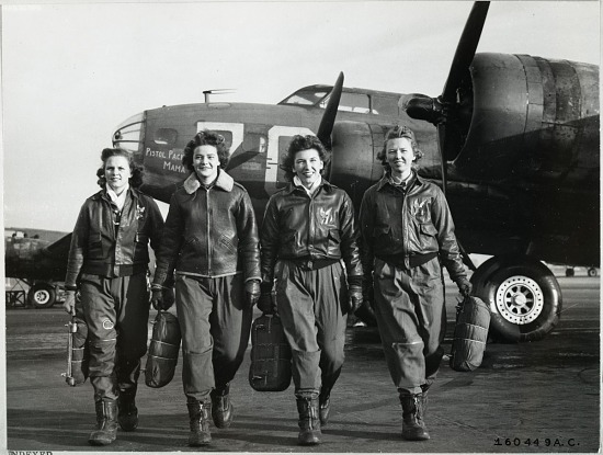 """image for Military, USA, US Army Air Forces, Womens Air Force Service Pilots (WASPs); Boeing B-17 Flying Fortress """"Pistol Packin' Mama""""; Greene, Frances; Kirshner, Margaret """"Peg"""" (Stevenson); Waldner, Ann; Osbourne, Blanche; Women in Aviation. photograph"""