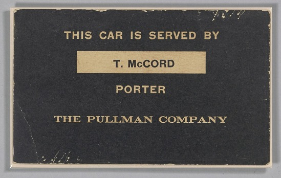 image for Train car sign from the Pullman Company used by Thomas McCord