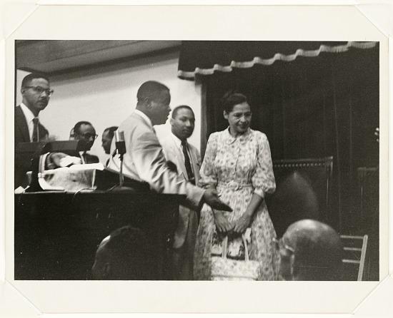 image for Rosa Parks, Martin Luther King Jr., and Ralph Abernathy, Ebenezer Baptist Church During Bus Boycott