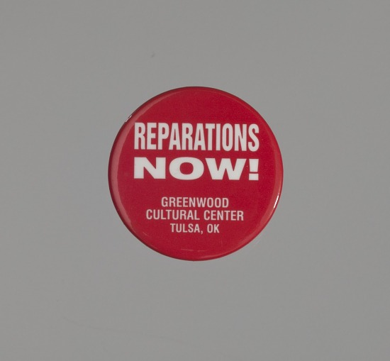 image for Pinback button promoting reparations for the Tulsa Riot