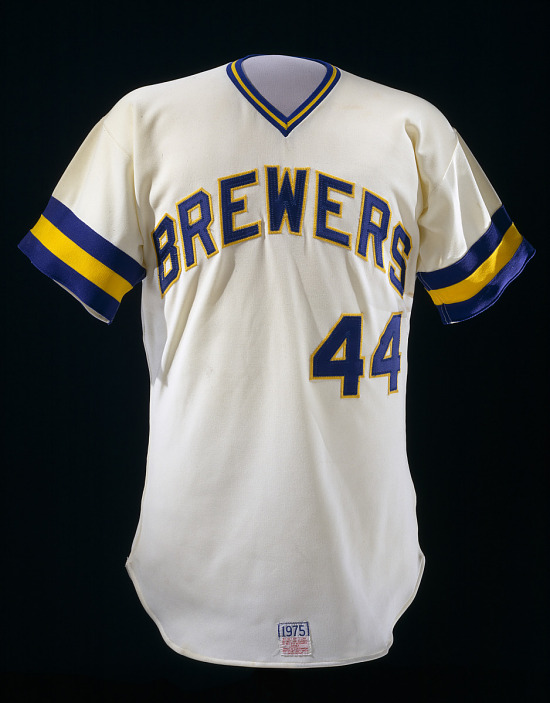 image for Milwaukee Brewers jersey, worn by Hank Aaron