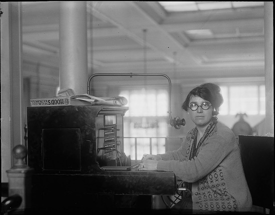 image for Close-up of woman telephone operator with early equipment. Active no. 1768 : photonegative.
