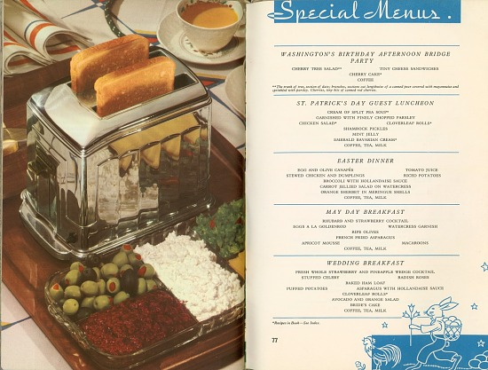 image for Page of Special Menus beside page showing a toaster and relish tray : product cookbook