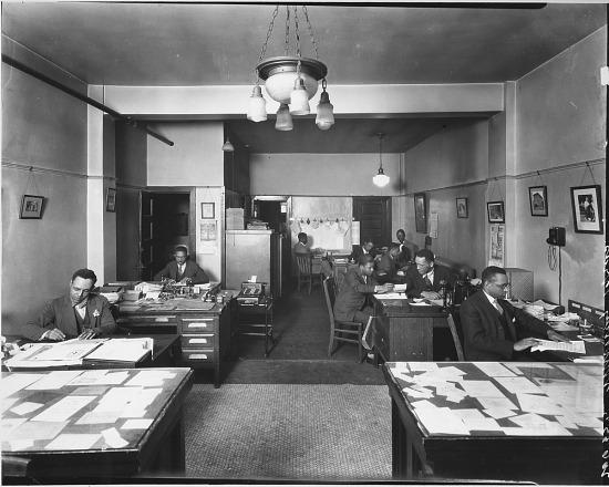 image for C. 1935 Newsroom Washington Tribune Newspaper ink caption on verso photoprint.