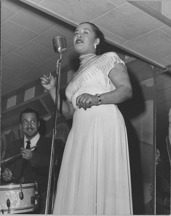 image for Billie Holiday /singer at microphone onstage : photoprint, ca. 1940s