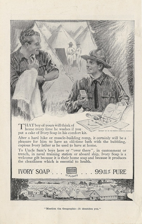 image for Ivory Soap .. 99 44/100% Pure. Print advertising. National Geographic. 1917
