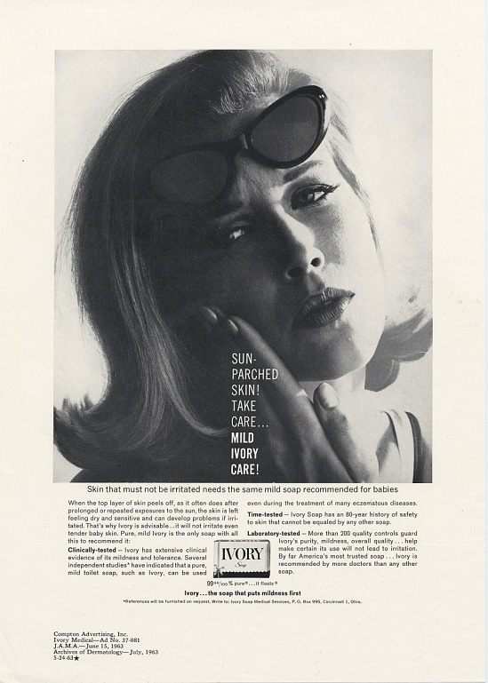 image for Sun-Parched Skin Take Care..Mild Ivory Care! Print advertising. Medical industry publications. 1963