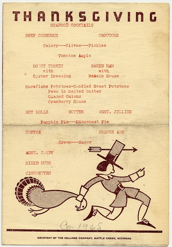 image for Thanksgiving menu, Company 1968
