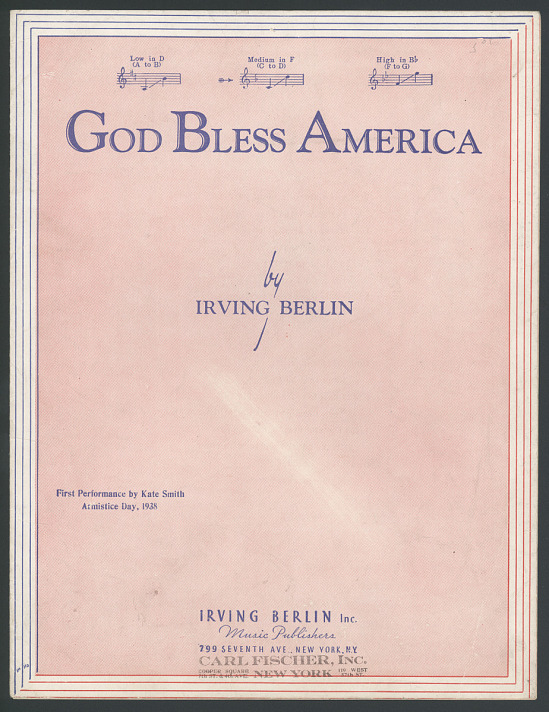 "image for Sheet Music, ""God Bless America"""