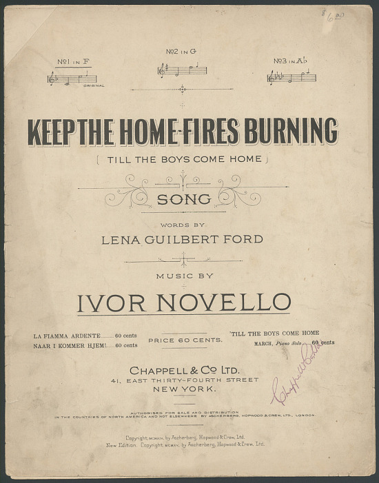 "image for ""Keep the Home Fires Burning (Till the Boys Get Home)"" Sheet Music"