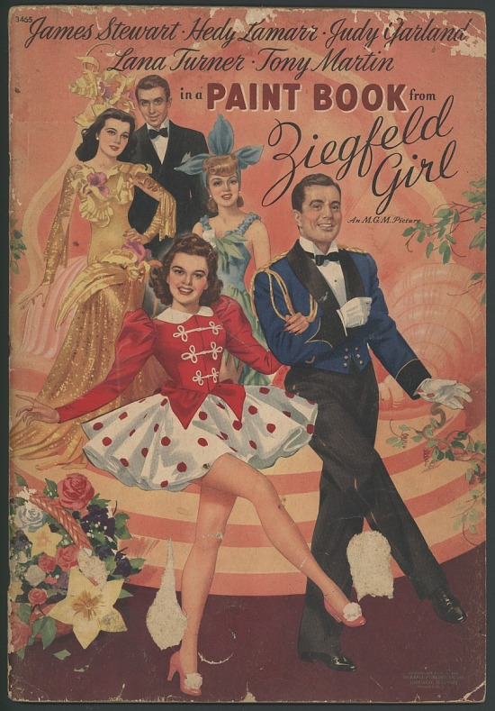 image for James Stewart, Hedy Lamarr, Judy Garland, Lana Turner, and Tony Martin in a Paint Book from Ziegfeld Girl