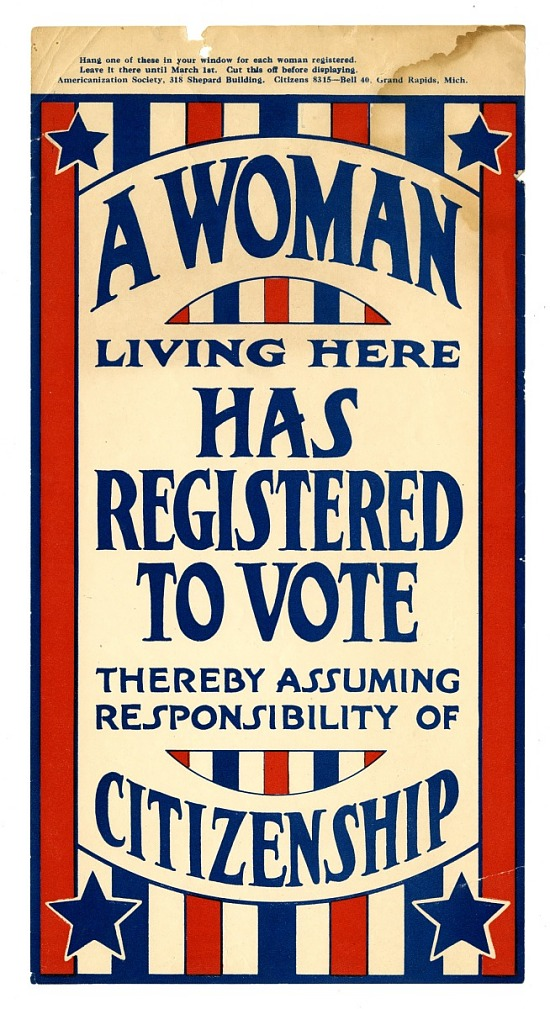 "image for Sign, ""A Woman Living Here Has Registered to Vote"", 1919"