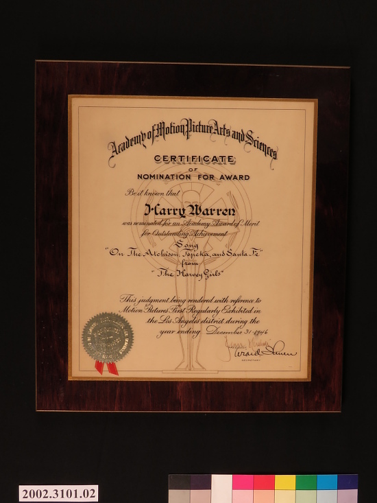 image for AMPAS Certificate of Nomination plaque