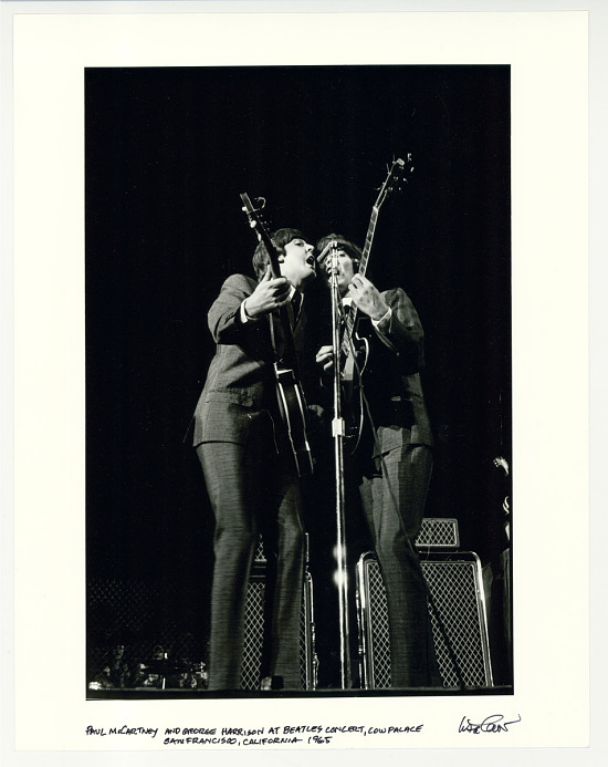 image for Paul McCartney and George Harrison at the Beatles concert, Cow Palace, San Francisco, CA. 1965