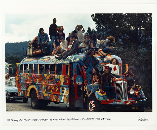 image for Hog Farmers and friends on the Road Hog. El Rito, 4th of July parade, NM 1968. Wavy's Bus.